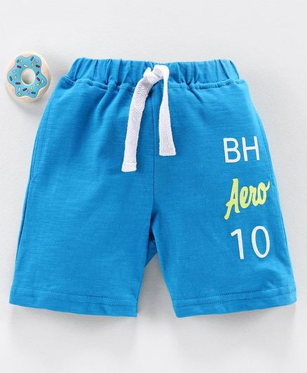 Babyhug Mid Thigh Length Shorts Text Print - Blue