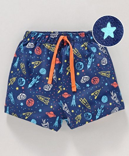 Cucumber Shorts with Drawstring Space Print - Blue