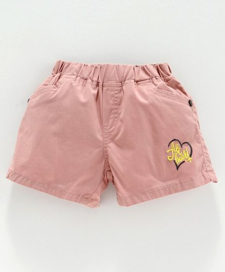 Olio Kids Shorts Heart Embroidered - Peach
