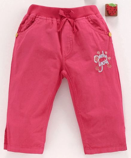 Olio Kids Three Fourth Leggings Text Embroidered - Dark Pink