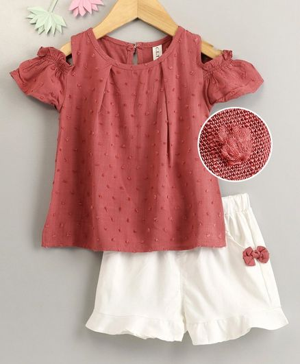 Kookie Kids Cold Shoulder Embroidered Top & Shorts - Coral White