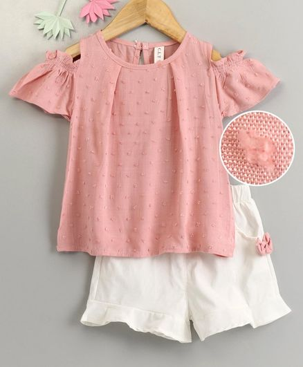 Kookie Kids Cold Shoulder Embroidered Top & Shorts - Pink White