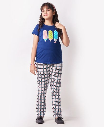 Soft Touche Ice Cream Print Half Sleeves Checked Night Suit - Blue White