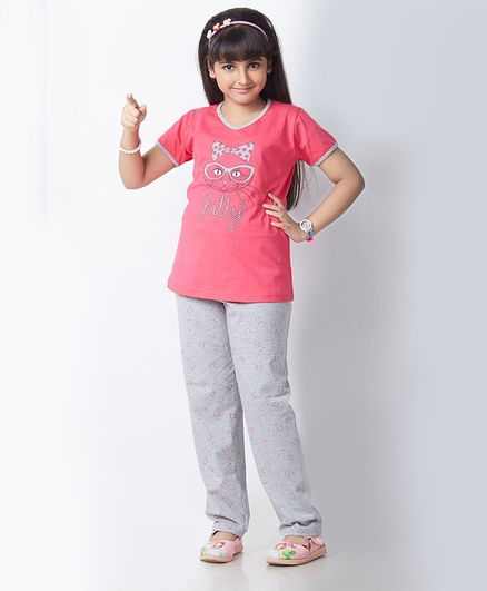 Soft Touche Kitty Print Half Sleeves Night Suit - Pink Grey