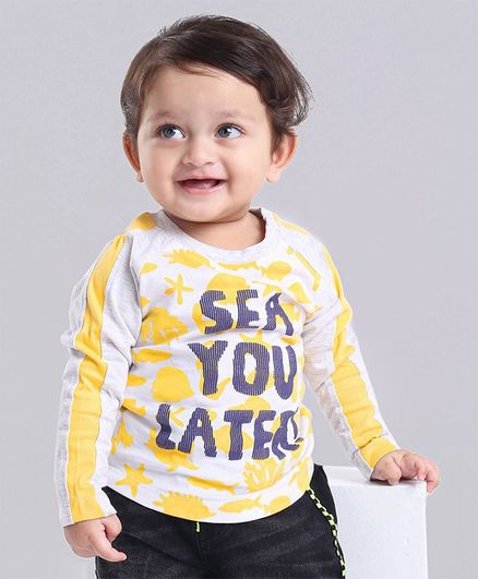 Babyoye Cotton Raglan Sleeves Tee Text & Aquatic Animals Print -White Grey