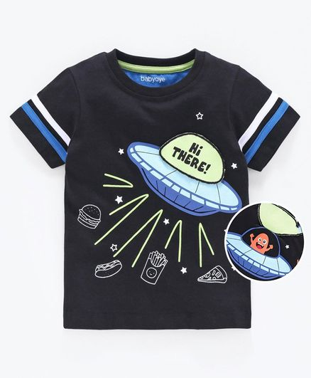 Babyoye Cotton Half Sleeves Tee Spaceship Print - Black