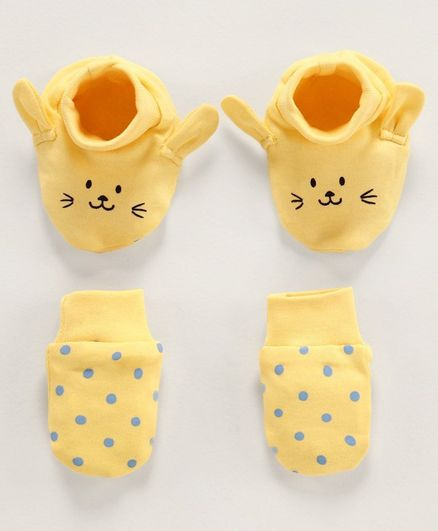 Babyoye Cotton 3D Ear Mittens & Booties - Yellow