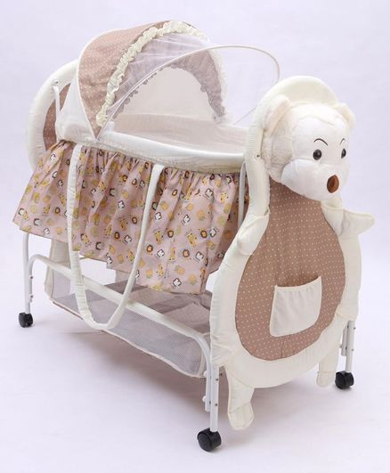 Bear Print 2 in 1 Cradle cum Bassinet with Mosquito Net and Swing Lock Function - White