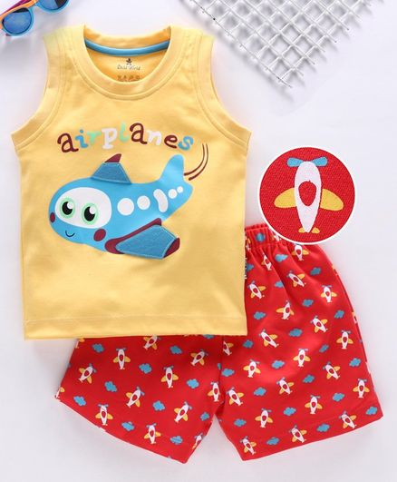 Child World Sleeveless Tee With Shorts Airplane Applique - Yellow Red