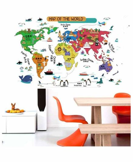 Oren Empower Artistic Map of The World Wall Stickers - Multicolour
