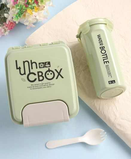 Lunch Box with Spork & Water Bottle - Green