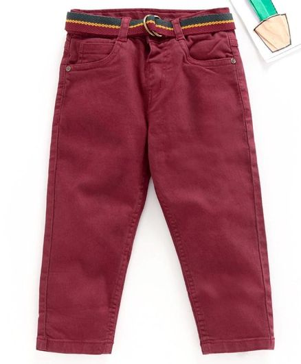 Babyhug Full Length Jeans - Brick Red