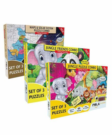 Pola Puzzles Animals,  Maps, Solar System & Jungle Friends Jigsaw Combo of 3 - 60 Pieces Each
