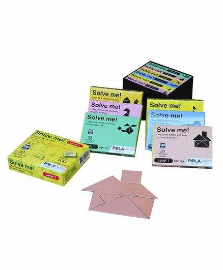 Pola Puzzles Solve Me Level 1 Tangram Puzzle Multicolor Pack of 6 - 100 Pieces