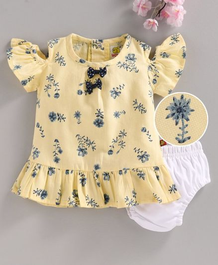 Wow Half Sleeves Frock with Bloomer - Yellow