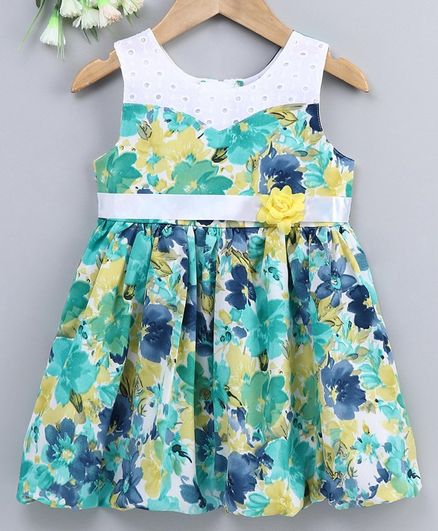 Enfance Core Sleeveless Flower Printed Dress - Green