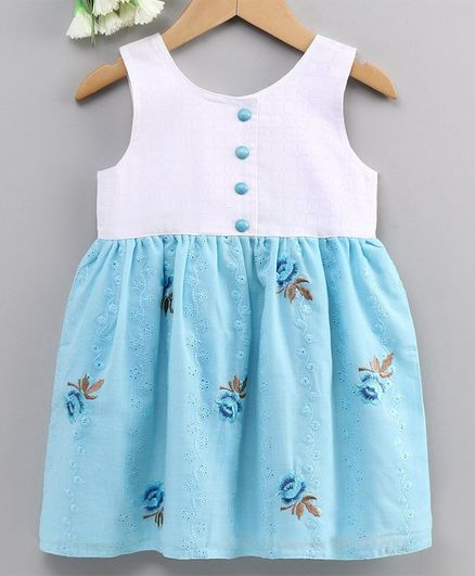 Enfance Core Flower Embroidery Sleeveless Dress - Blue
