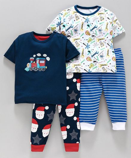 Kidi Wav Santa Claus Printed Half Sleeves Pack Of 2 Tee & Bottom - Navy Blue & White