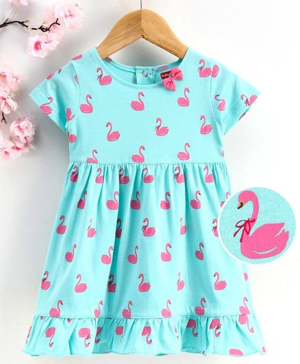 Babyhug Short Sleeves Frock Swan Print - Blue