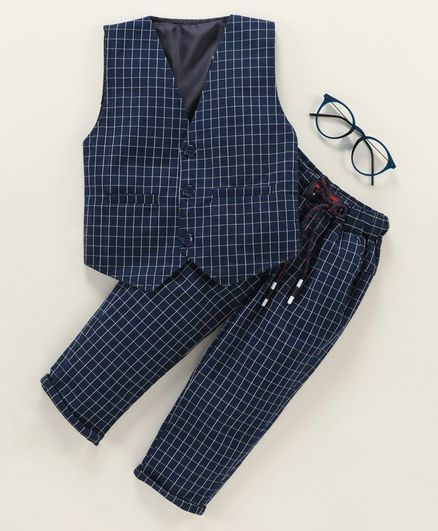 Rikidoos Checked Sleeveless Waistcoat With Bottom - Navy Blue