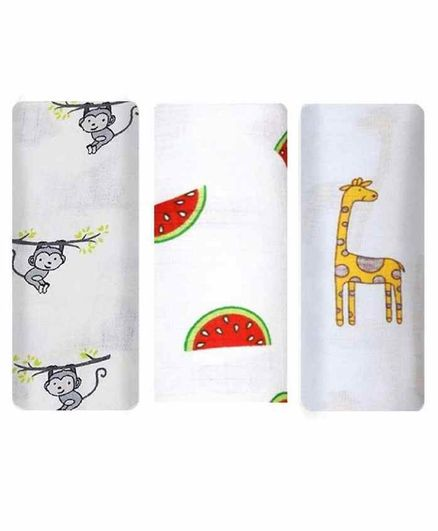 Mom's Home Cotton Muslin Swaddle Wrapper Animal & Fruits Print Pack of 3 - White