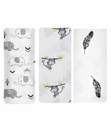 Mom's Home Cotton Muslin Swaddle Animal Print Pack of 3 - White