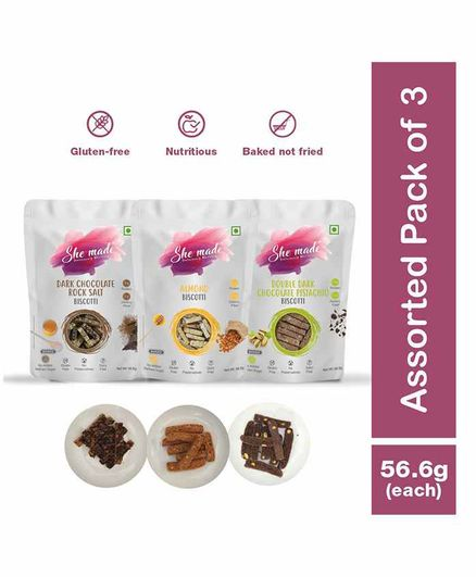 She Made Double Dark Chocolate Pistachio Biscotti Almond Biscotti Dark Chocolate Rock Salt Biscotti - Pack of 3 - 56.6 gm Each - Gluten-free, Vegetarian, Nutritious Diet, Healthy Snacks