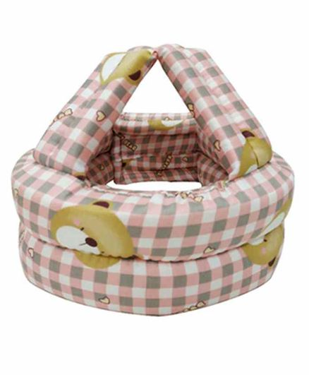 Syga Checked Baby Cushion Head Protector Teddy Bear Print - Pink