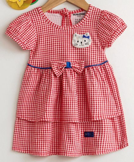 Cucumber Short Sleeves Checkered Frock - Red