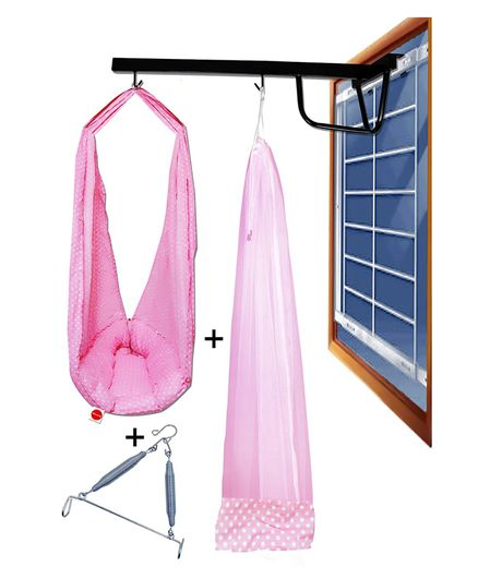 VParents  Swing Cradle Mosquito Net and Spring with Cradle Hanger - Pink