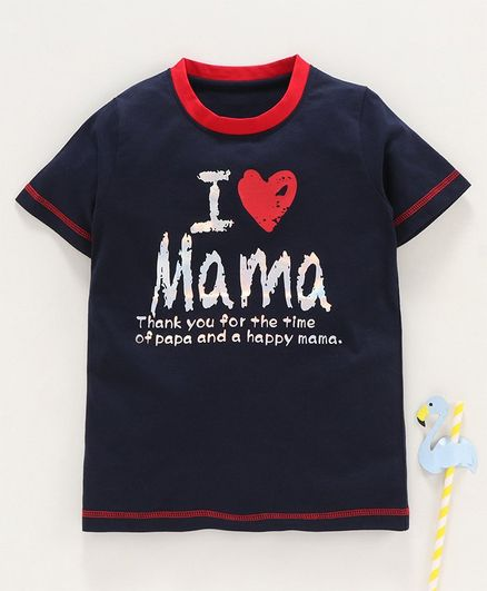 Stupid Cupid I Love Mama Print Half Sleeves Tee - Navy Blue
