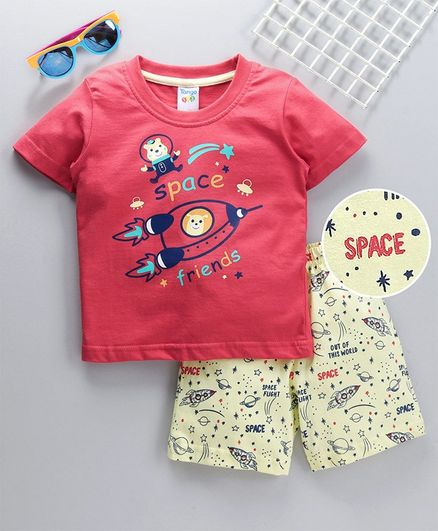 Tango Half Sleeves Tee and Shorts Space Print - Red Yellow