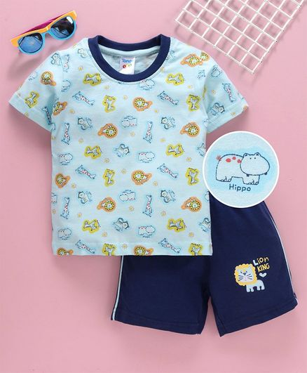 Tango Half Sleeves Tee and Shorts Hippo Print - Blue
