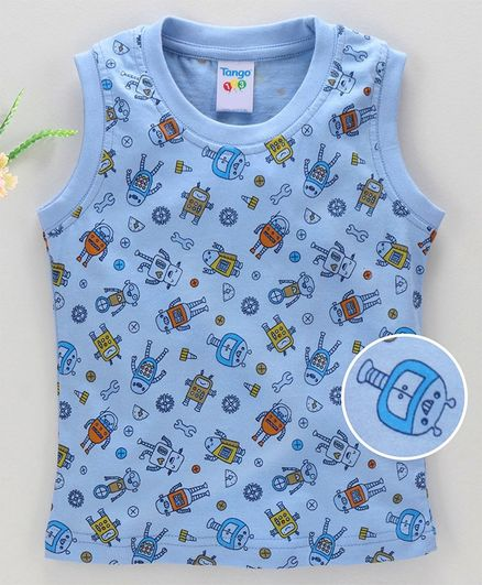 Tango Sleeveless T-Shirt Allover Robot Print - Blue