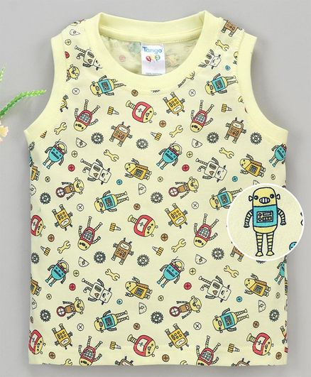 Tango Sleeveless T-Shirt Allover Robot Print - Yellow