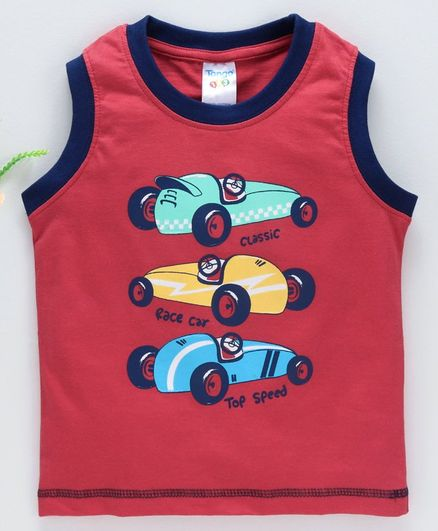 Tango Sleeveless T-Shirt Race Car Print - Red