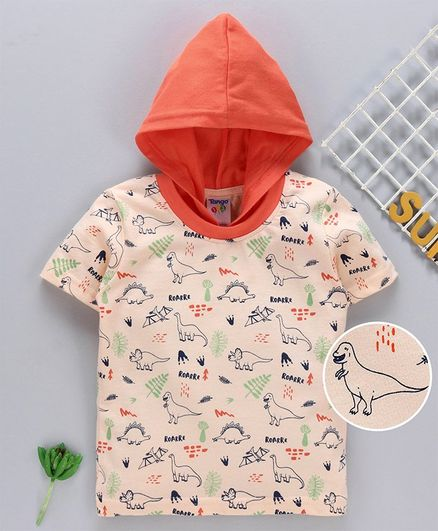 Tango Half Sleeves Hooded T-Shirt Allover Dino Print - Orange