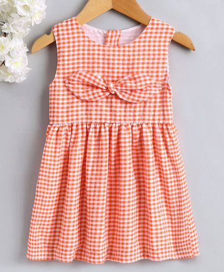 Babyhug Sleeveless Checks Frock Front Knot Detail - Peach