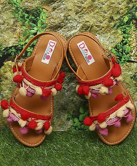 D'chica Pom Pom Lace Trimmings Sandals - Brown