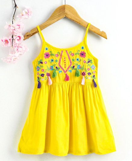 Babyhug Singlet Frock Floral Embroidery & Tassel Detail - Yellow