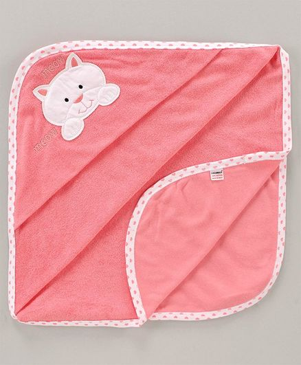 Cucumber Hooded Towel Kitty Patch - Peach
