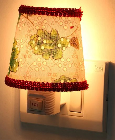 Baby Night Lamp with Lace Floral Print - Green