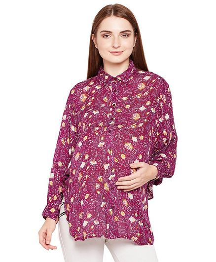 Oxolloxo Floral Print Full Sleeves Maternity Shirt - Maroon