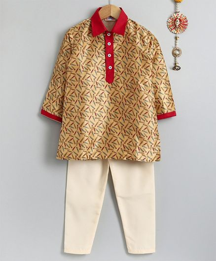 Asthetika Pencil Print Full Sleeves Kurta & Pyjama Set - Brown Cream