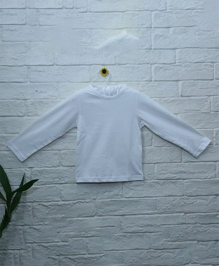 Mish Organic Solid Full Sleeves Organic Cotton T-Shirt - White