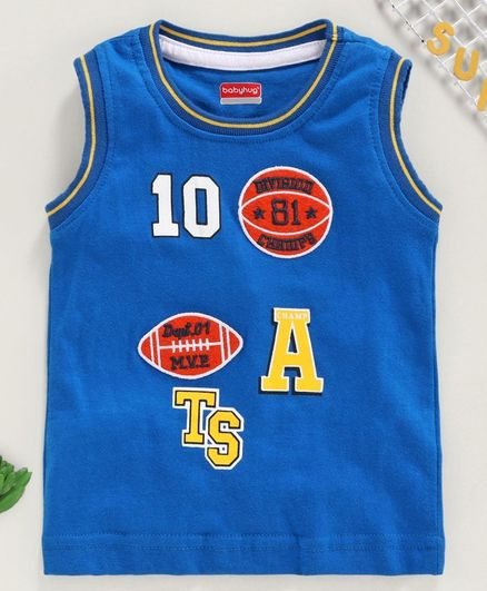 Babyhug Sleeveless Tee Ball Embroidered - Blue