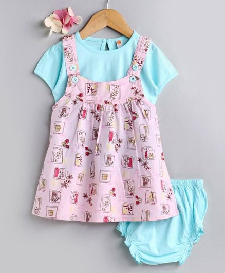 Dew Drops Dungaree style Frock with Inner Tee & Bloomer Floral Print - Pink Blue