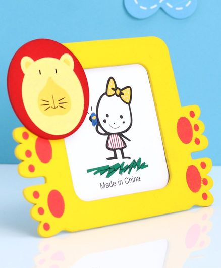 Square Shape Wooden Photo Frame Tiger Face Design - Yellow
