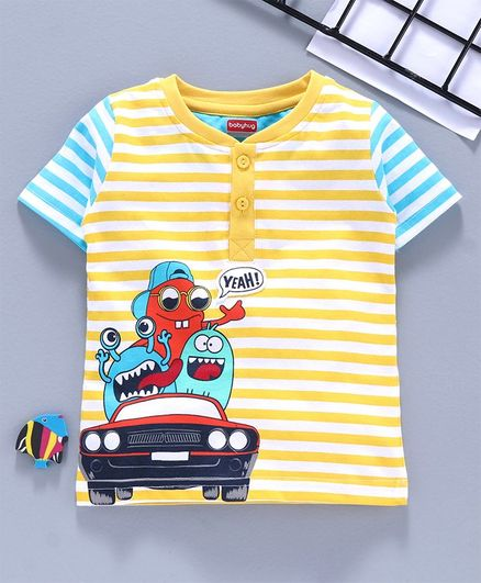 Babyhug Half Sleeves Striped Tee Monsters Print - Yellow