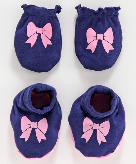 Babyoye Cotton Mittens and Booties Bow Print - Blue